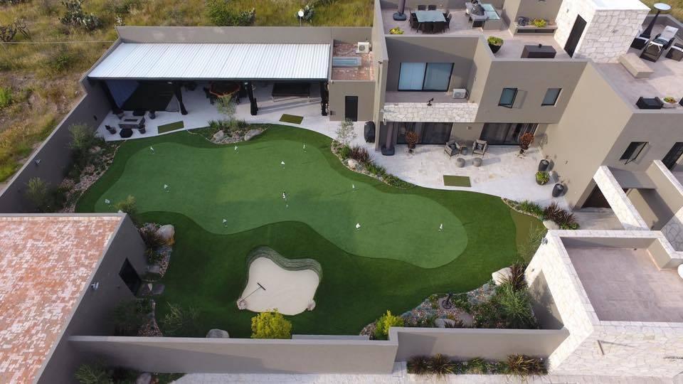 view of arizona backyard putting green