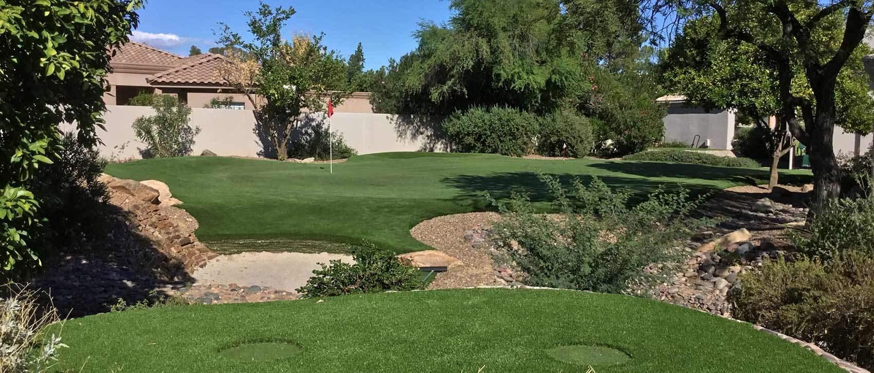 backyard golf green with undulations